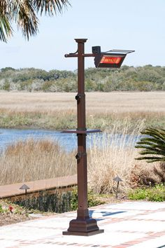 Well Traveled Living 60803 Hammer Tone Bronze Mission Design Pole Mounted Infrared Patio Heater With Table