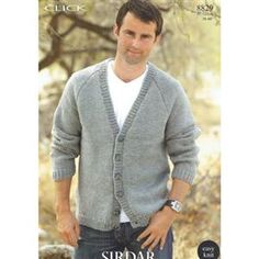 Sirdar 8829 Man's Cardigan Knit in Sirdar Click Chunky or equivalent. Uses (#5)/Chunky weight yarn. Adult sizes. Knitting Patterns, Boys, Sweaters, Fashion, Baby Boys, Moda, Knit Patterns, Fashion Styles, Sweater