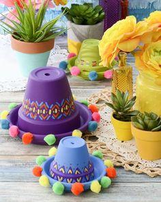 Arts and Crafts Store - Sombrero clay pots – Cinco de Mayo – Mexican party – summer decor - Mexican Birthday Parties, Mexican Fiesta Party, Fiesta Theme Party, Taco Party, Party Themes, Fiesta Party Centerpieces, Mexican Centerpiece, Party Ideas, Mexico Party