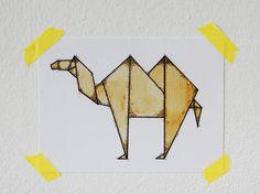 Camel Origami 5x7 Print van fritzifranzen op Etsy, €7.00