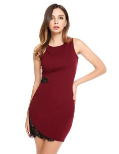 Red Lace Hollow Out O-Neck Sleeveless Patchwork Asymmetrical Hem Dress
