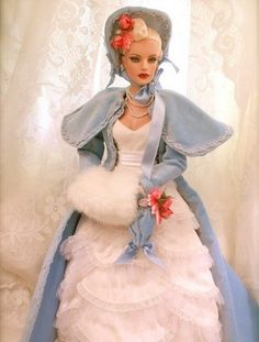 #pinned #dollchat ^kv submitted by Julie of jewelianne: A Jewelianne Sydney repaint wearing the fabulous Julia blue velvet coat and Patricia Holt in Gowns by Anne Harper by Tonner.