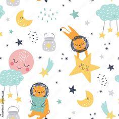 Kids Patterns, Pattern Ideas, Vintage Patterns, Fabric Patterns, Kids Nightwear, Good Night Image, Pattern Illustration, Royalty Free Photos, Animals And Pets