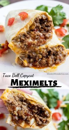 Meximelts are my guilty pleasure. This Beef Meximelt Recipe (inspired by Taco Bell) is super easy, unbelievably delicious and so much better than the drive-thru. Make a copycat version of your fast food favorite at home for an awesome lunch or dinner. Beef Dishes, Food Dishes, Main Dishes, Easy Dinner Recipes, Easy Meals, Easy Mexican Food Recipes, Easy Beef Recipes, Easy Mexican Dishes, Mexican Fast Food