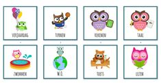 Dagritmekaarten - thema uiltjes Crochet Owls, Classroom Themes, Back To School, Clip Art, Teaching, Education, Holiday Decor, Rooster, Pictures