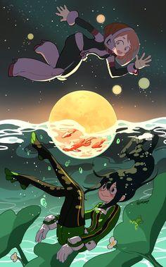 my hero academia wallpaper [Uraraka & Tsuyu] Boku kein Held Akademie My Hero Academia Episodes, My Hero Academia Memes, Hero Academia Characters, My Hero Academia Manga, Tsuyu Asui, Boku No Hero Tsuyu, Boku No Hero Uraraka, Fanarts Anime, Manga Anime