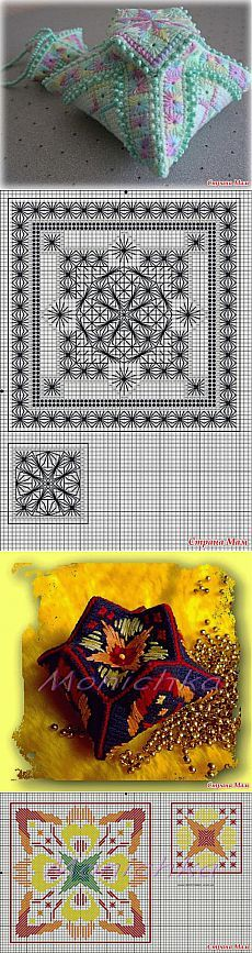 Cross-stitch Biscornus ... no color chart available, just use pattern chart as your color guide.. or choose your own colors... Необычные бискорню