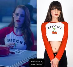 "Who: Cheryl Blossom (Madelaine Petsch) What: Married to the Mob Bitchy Cherry Raglan Top in White/Red - Sold Out Where: Riverdale Season 1 Episode 8 ""Chapter Eight: Outsiders"". Cheryl Blossom Riverdale, Riverdale Cheryl, Girly Outfits, Summer Outfits, Cute Outfits, Cherry Blossom Outfit, Riverdale Season 1, Riverdale Cast, Fashion Tv"