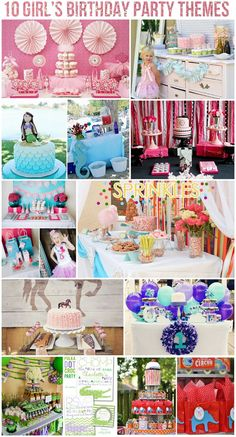 Top 10 Girl's Birthday Party Themes on http://pizzazzerie.com #party #birthday