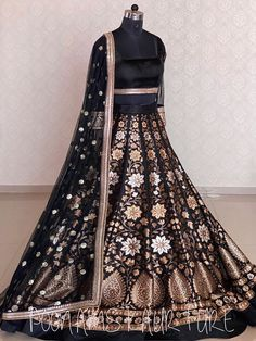 Black Gold Brocade Lehenga Indian Gowns Dresses, Indian Fashion Dresses, Indian Designer Outfits, Pakistani Dresses, Indian Outfits, Fashion Clothes, Brocade Lehenga, Black Lehenga, Wedding Lehenga Designs