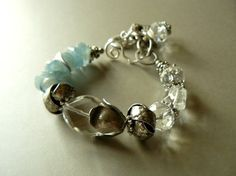 RESERVED  COOLSTUFFMIMI SALE Tulips with Crystal Quartz, Aquamarine Gemstones and Silver