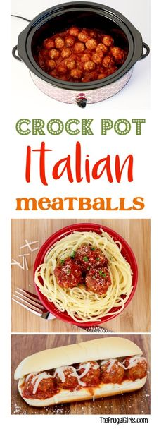 Crockpot Meatballs Recipe!  Italian meatballs are the perfect addition to your pasta dinner, or meatball subs!  Such an easy slow cooker dinner your family will love! | TheFrugalGirls.com (Crockpot Sandwich Recipes)