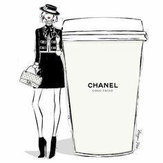 "Megan Hess illustration: ""On some Monday's, only a CHANEL will do. Coco Chino anyone? Megan Hess Illustration, Illustration Mode, Coffee Illustration, Coffee Cup Art, Coffee Girl, Coco Chanel, Poster Café, Posters, Glamour Moda"