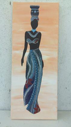 Best 11 African woman on canvas African Wall Art, African Art Paintings, African Prints, African Fabric, Black Art Painting, Woman Painting, African American Art, African Women, Afrique Art