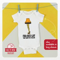 Christmas Story Leg Lamp Baby One piece by Milknwinenursery