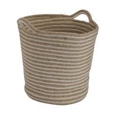 Designed with rope handles, this basket can be used to carry clean laundry. Touch Lamp, Laundry Hamper, Home Design Decor, Particle Board, Stripes Design, Friends In Love, Vintage Home Decor, Jute, Basket