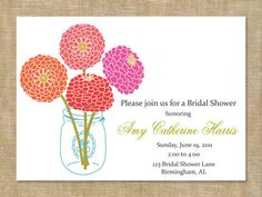 Blooms Bridal Shower Invites Save the Dates by graceloveDesigns