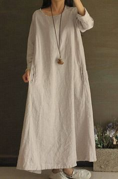 Retro Women Loose Leisure Maxi Cotton Linen Long Dress Caftan Gown Robe Plus SZ Linen Dresses, Casual Dresses, Summer Gowns, Gown Pattern, Mode Hijab, Maternity Dresses, Maternity Clothing, Fashion Outfits, Lady