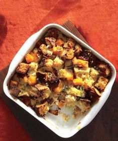 Butternut Squash Bread Pudding|This simple and filling side dish is full of fall flavor. Soft, sweet butternut squash mingles with chopped fresh sage while melted Gruyère cheese infuses every bite with nutty, gooey goodness.
