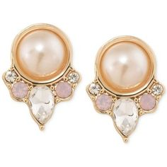 Carolee Gold-Tone Imitation Pink Pearl and Crystal Clip-On Button Earrings
