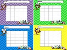 Free Owl Themed Classroom Reward Charts