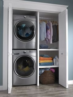 """Explore our internet site for additional relevant information on """"laundry room stackable washer and dryer"""". It is a great place to read more. Washer Dryer Closet, Laundry Closet, Small Laundry Rooms, Laundry Room Storage, Laundry Room Design, Laundry In Bathroom, Storage Room, Room Organization, Hidden Laundry"""
