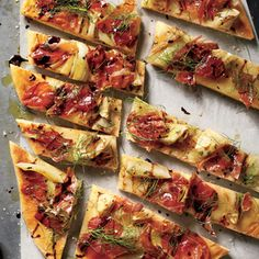 Roasted Fennel-and-Prosciutto Flatbread | MyRecipes.com You can substitute sweet onion for fennel and bacon for prosciutto.