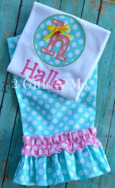 Custom Made Initial appliqued shirt with Matching Ruffle Pants