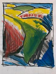 Colors in things. gouache and brush on paper. Chuck Boyer