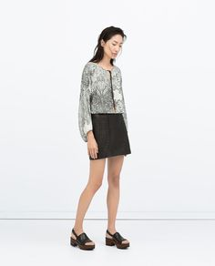 Image 1 of LEATHER MINI SKIRT from Zara