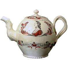 antique English creamware pottery teapot with a commemorative image of Queen Charlotte | 1stdibs.com