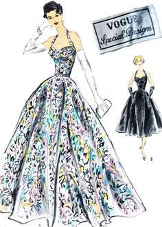 1950s Evening Dress Pattern Vogue S4571 Full Skirt by paneenjerez, $150.00