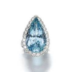 Aquamarine and diamond ring    Centring on a pear-shaped aquamarine stated to weigh 16.51 carats to a scalloped border and split shoulders highlighted with brilliant-cut diamonds,