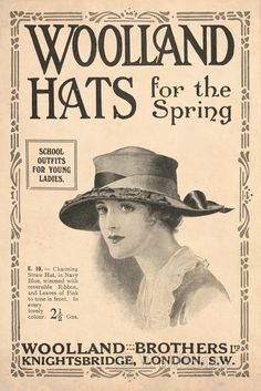 Woolland Hats Ad From 1918. Scanned from an original 1918 The Sphere magazine.