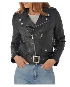 Women's Clothing Blouson Femme Cuir Véritable Perfecto Classique Biker Brando Style Motard High Quality Materials Clothing, Shoes & Accessories