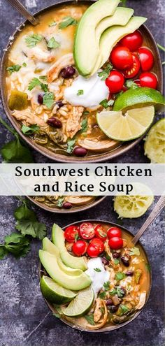 Southwest Chicken and Rice Soup – Recipe Runner Southwest Chicken and Rice Soup is healthy comfort food at it's best! If you love soups that keep you full for hours and have a spicy kick, then this one is for you! Best Soup Recipes, Healthy Dinner Recipes, Chili Recipes, Healthy Soups, Delicious Meals, Healthy Eats, Free Recipes, Easy Recipes, Southwest Chicken Soup