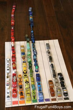 Introductory graphing with toy cars for beginner preschool math. Involves toddler sorting by color and counting, could be done with any objects.