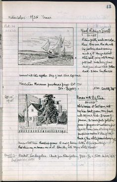 page from Edward Hopper's sketchbook #skechtbook #drawing #ink …