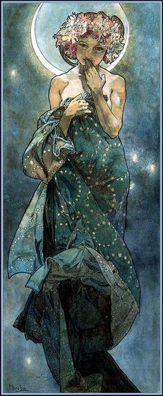 "MUCHA (Alfons) Art Nouveau - Jugendstil: ~The Moon and the Stars: study for ""The Moon"" (1902)~:"