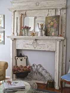 Vintage Decor Living Room Distressed Wood Mantel Piece with Painting - Shabby chic living room decor ideas that are impossible to not love. Browse through the best designs and find your favorites! Salon Shabby Chic, Casas Shabby Chic, Shabby Chic Decor Living Room, Shabby Chic Interiors, Shabby Chic Bedrooms, Shabby Chic Homes, Shabby Chic Furniture, Room Decor, Lane Furniture