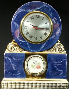 Blue Gold VINTAGE ORNATE PORCELAIN Floral SESSIONS Mantle Clock Unique c. 1930