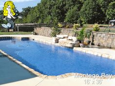Jazz up your #outdoors with the classic and distinguished design of the Montego Bay #Fiberglasspool - Featuring large #swimming area and built-in seating! #summer #swimmingpool