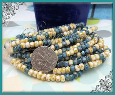 50 Picasso Cream & Teal Trica Beads  Czech Glass by sugabeads