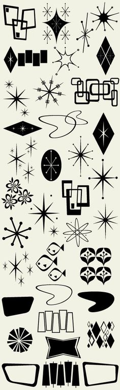 Atomic design symbols mid century modern Letterhead Fonts / LHF Bomber / Retro Fonts <------ NEED! Or shall attempt to draw in AiI ASAP! Motif Vintage, Vintage Design, Retro Design, Retro Vintage, 1950s Design, Vintage Baking, Vintage Logos, Vintage Modern, Vintage Labels
