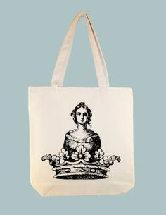 Vintage Heraldic Queen Icon Crown Image Canvas Tote by Whimsybags, $12.00