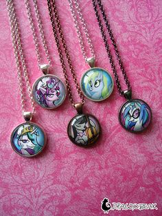 "My Little Pony 1"" Glass Cabochon Pendant Necklace - Princess Celestia, Cadence, Octavia, Vinyl Scratch, Derpy Hooves, MLP"