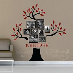 Personalized Family Tree Vinyl Decal by OffTheWallExpression,  See FB page for current coupon codes.