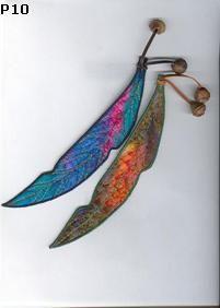 Australian gumleaf bookmarks by Creative Silk. Handpainted silk, machine embroidered