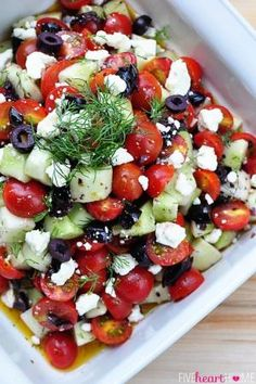 Tomato, Feta and Olive salad @CAripeolives #yum