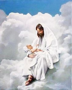 Sitting on the clouds of heaven with Jesus.